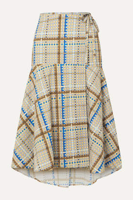 Ganni Tiered Checked Cotton-poplin Wrap Skirt - Light blue
