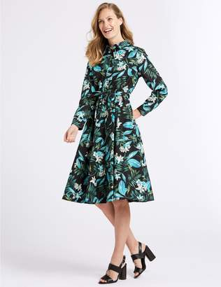 Marks and Spencer Cotton Blend Floral Print Shirt Dress