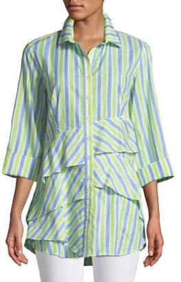 Finley Plus Size Jenna Striped Tiered-Ruffle Long Blouse