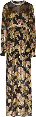 Rochas Embellished Velvet Floral-Jacquard Gown