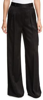 T by Alexander Wang Satin Suiting Wide-Leg Wrap-Front Pants w/ Side-Tie $395 thestylecure.com