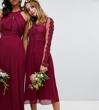 TFNC Petite lace detail bridesmaid midi dress in burgundy