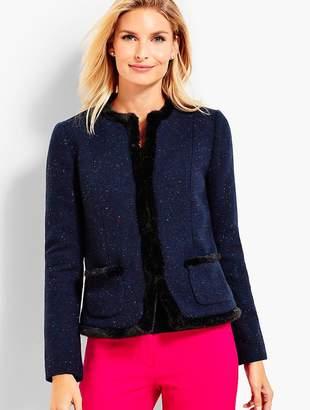 Talbots Faux-Fur Trimmed Shetland Jacket