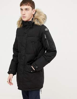 Schott Lincoln 18X quilted hooded parka jacket with detachable faux fur trim in black
