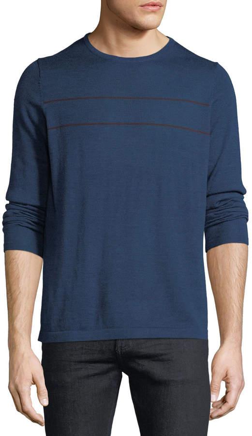 Neiman Marcus Men's Horizontal-Stripe Crewneck Long-Sleeve Wool-Blend Sweater