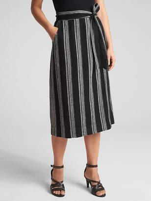 Gap Wrap Tie-Belt Stripe Midi Skirt
