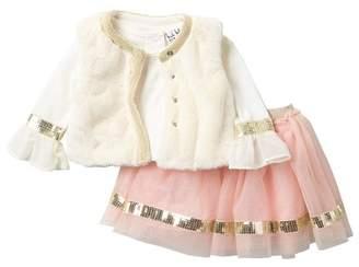 Nicole Miller Ruffle Sleeve Top, Faux Fur Vest & Sequin Trim Tulle Skirt Set (Baby Girls)