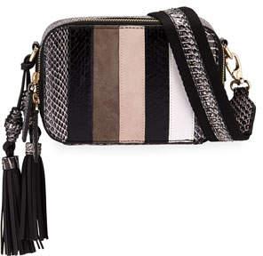 Rafe Sophie Snakeskin & Leather Striped Crossbody Camera/Belt Bag