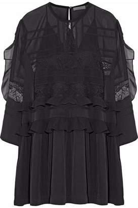 IRO Lace-Trimmed Ruffled Chiffon And Crepe De Chine Mini Dress