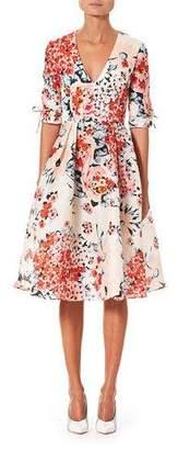 Carolina Herrera 1/2-Sleeve V-Neck Floral-Print Dress