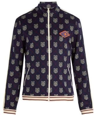 Gucci Tiger Head Zip Through Sweatshirt - Mens - Blue
