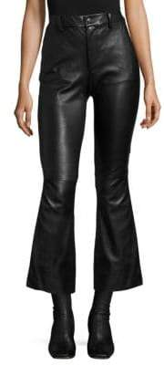 Helmut Lang Leather Crop Flared Pants