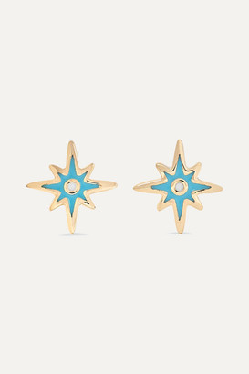 Sydney Evan Mini Starburst 14-karat Gold And Enamel Earrings