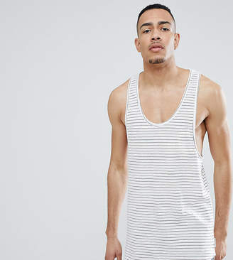 Bellfield TALL Longline Tank In Stripe With Curved Hem