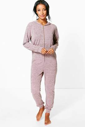 boohoo Ella Knitted Zip Front Hooded Onesie