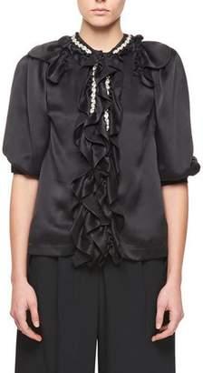 Simone Rocha Puff-Sleeve Silk Blouse with Jewel & Ruffle Detail