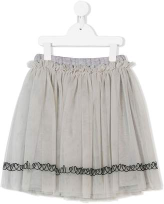 Fendi heart-embroidered flared skirt