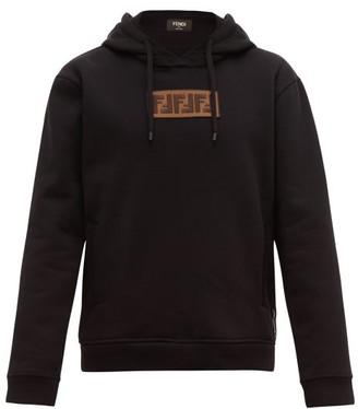 Fendi Logo Applique Cotton Blend Hooded Sweatshirt - Mens - Black