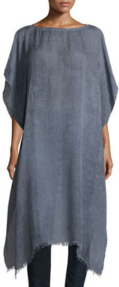 Eileen Fisher Short-Sleeve Airy Linen Maltinto Long Poncho, Yarrow $178 thestylecure.com