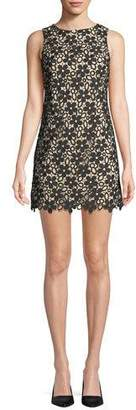 Alice + Olivia Clyde Floral Lace Shift Mini Dress