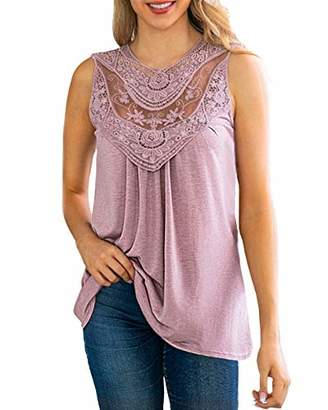 KIRUNDO 2019 Summer Women's Lace-Paneled Tops Mesh Crochet Hollow Out Sleeveless Flowy Tank Blouse (