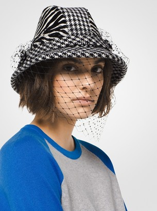 Michael Kors Houndstooth and Zebra Veil Hat