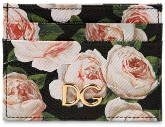 Dolce & Gabbana Leather Floral Print Credit Card Holder