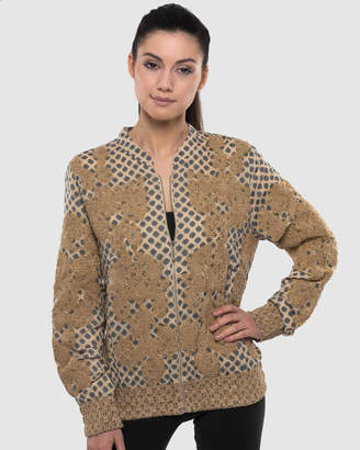 The Embroidered Beaded Baroque Print Bomber Jacket