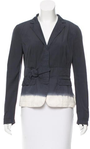 prada Prada Bow-Accented Pleated Blazer