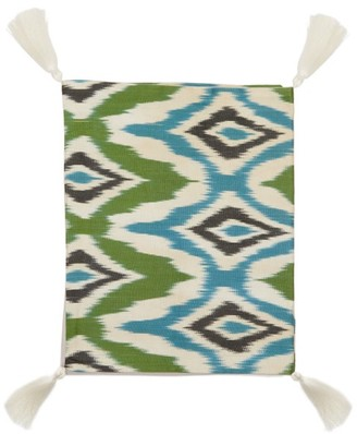 Les Ottomans - Ikat Silk And Cotton Table Runner - Green Print