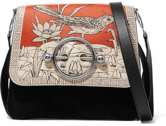 J.W.Anderson Disc Printed Leather And Suede Shoulder Bag - Orange