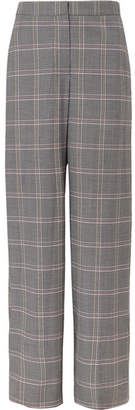 Cédric Charlier Checked Wool-blend Wide-leg Pants - Gray