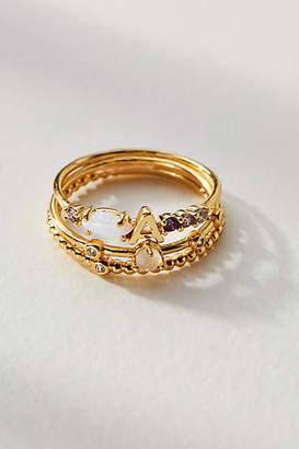 Anthropologie Monogram Stacker Ring Set