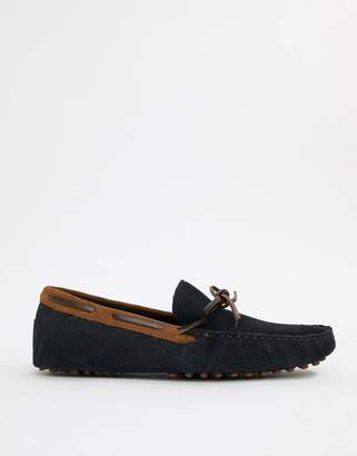 Asos DESIGN driving shoes in navy suede with brown leather detail
