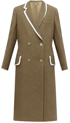 Fendi Double Breasted Bow Back Wool & Silk Blend Coat - Womens - Brown Multi