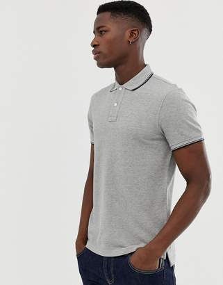 J.Crew Mercantile slim fit tipped pique polo in gray marl
