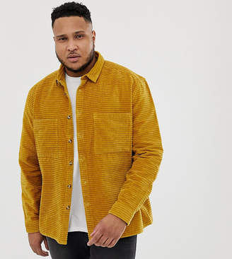 Asos DESIGN Plus cord overshirt in mustard with tortoise shell buttons