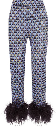 Prada - Feather-trimmed Printed Crepe De Chine Straight-leg Pants - Blue