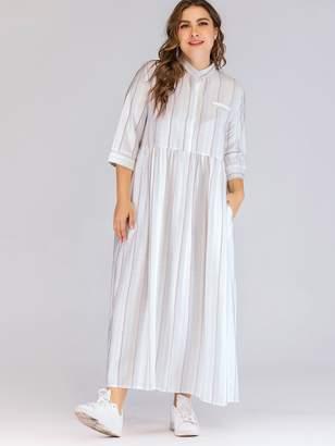 Shein Plus Button Half Placket Hidden Pocket Striped Longline Dress