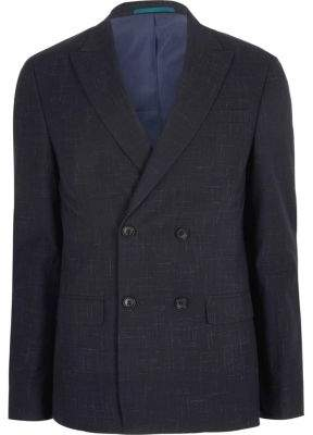 River Island Navy skinny double breasted suit jacket