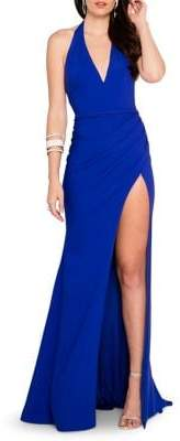 Terani Couture Glamour by Halter Plunge Leg Slit Evening Gown