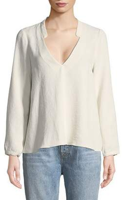 BA&SH Corian Split-Neck Long-Sleeve Blouse