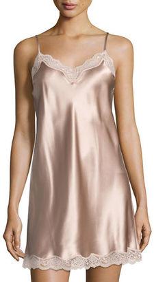 Neiman Marcus Lace-Trimmed Silk Chemise $160 thestylecure.com