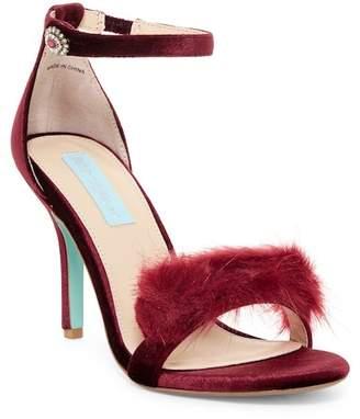 Betsey Johnson Nolte Faux Fur Trim Sandal $109 thestylecure.com