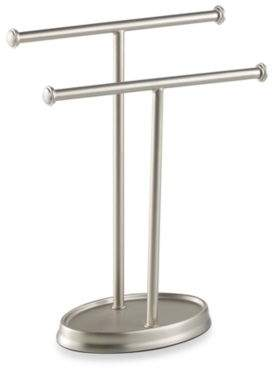 Palm Double Hand Towel Tree in Nickel