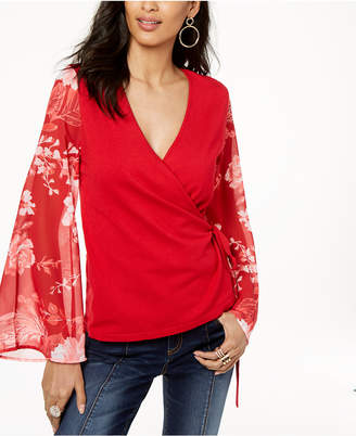 INC International Concepts I.n.c. Mesh-Sleeve Wrap Sweater, Created for Macy's