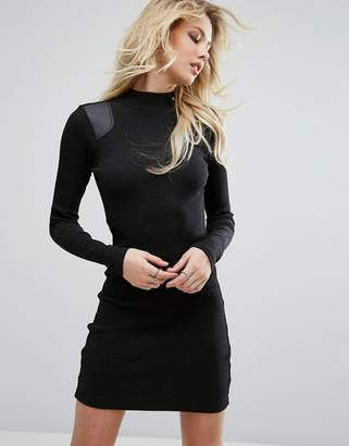 G-Star G-STAR High Neck Dress with Leather Look Panel $119 thestylecure.com