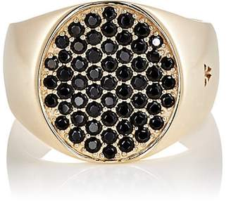 Tom Wood TOM WOOD WOMEN'S PINKY OVAL BLACK-SPINEL RING - GOLD SIZE 6