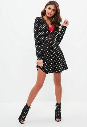 Missguided Black Polka Dot Lace Trim Tea Dress