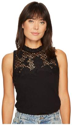 Lucky Brand Lace Mock Neck Top Women's Clothing